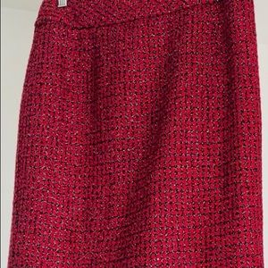 Coldwater Creek Red & Black Shimmery Pencil Skirt